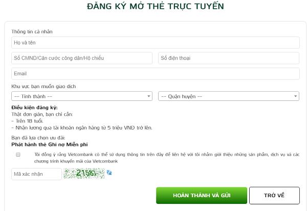 Đăng ký thẻ ATM Vietcombank Online dễ dàng