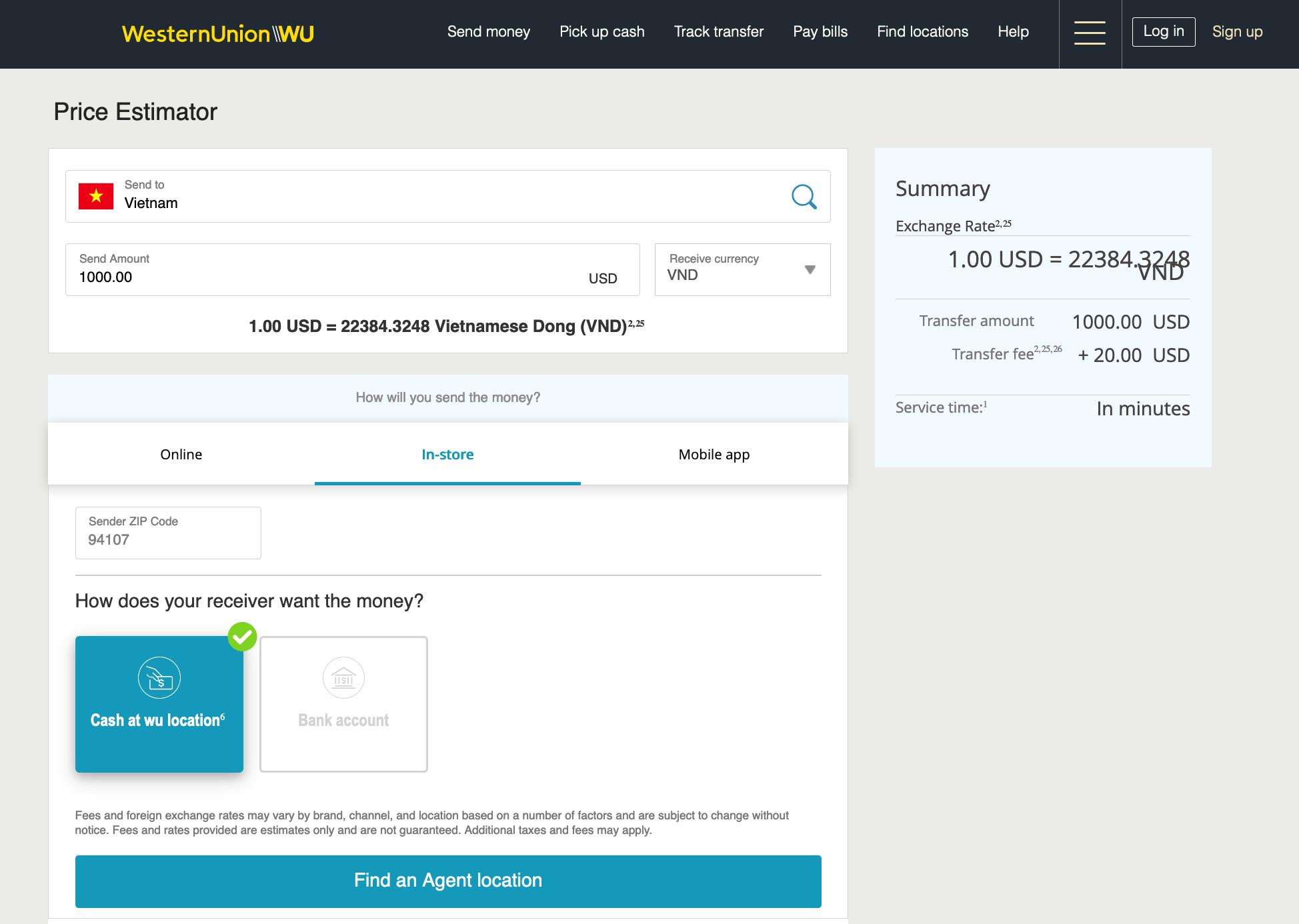 Biểu phí chuyển tiền Western Union