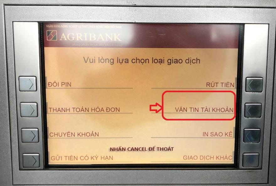 Kiểm tra số dư Agribank đơn giản tại trụ ATM