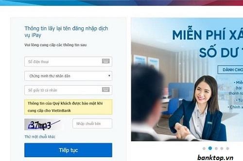 Lấy mật khẩu Ipay Vietinbank