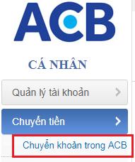 Chuyển tiền ACB bước 2