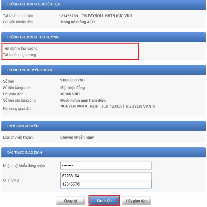 Chuyển tiền ACB online bước 5