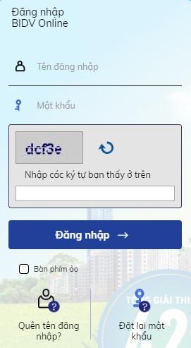 Đăng nhập BIDV Online dễ dàng