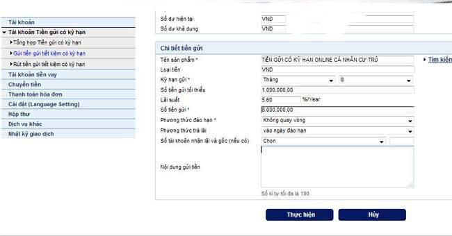 Gửi tiết kiệm online trên Internet banking bidv