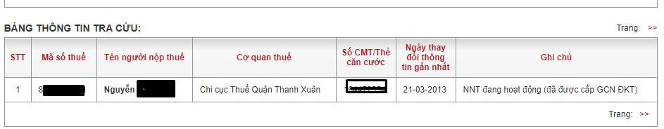 Kết quả tra cứu số CMND online