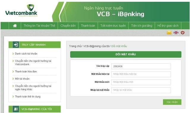 Hướng dẫn đổi mật khẩu cho tài khoản Internet banking