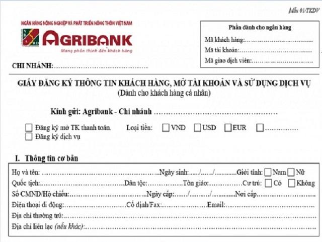 Hồ sơ mở thẻ ATM Agribank