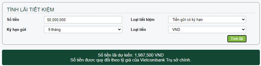 Cách tính lãi suất tiền gửi tiết kiệm ngân hàng Vietcombank