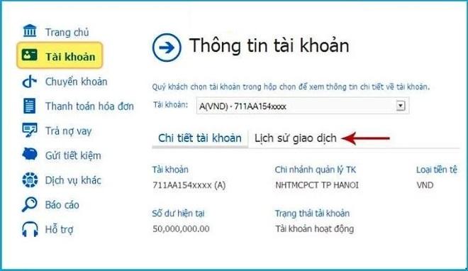 Kiểm tra số dư tài khoản với Vietinbank Ipay