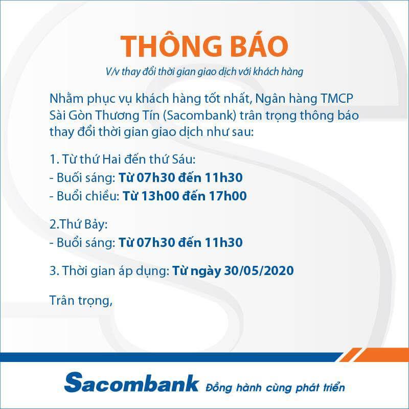 Ngân hàng Sacombank chính thức làm việc thứ 7 từ 30/5/2020