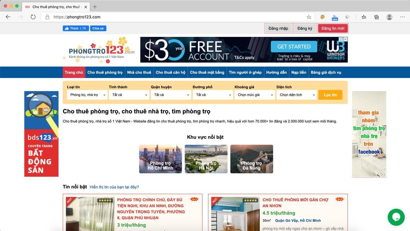 Phongtro123.com là website tìm phòng trọ có lượng truy cập cao