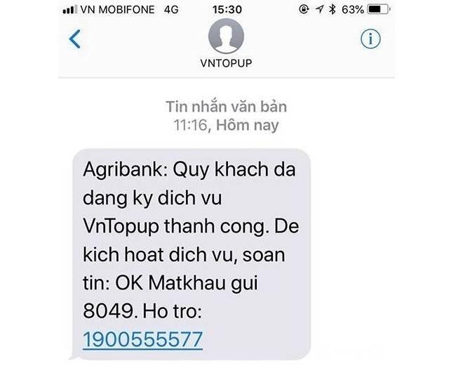 Tin nhắn đăng ký thành công VnTopup Agribank