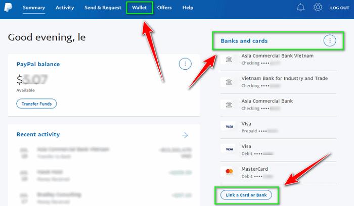 Cách add thẻ vào Paypal