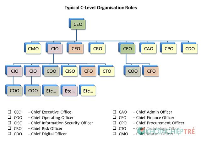 COO và CEO, CFO, CPO, CCO, CHRO, CMO