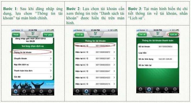 Kiểm tra lịch sử giao dịch VCB trên Mobile Banking
