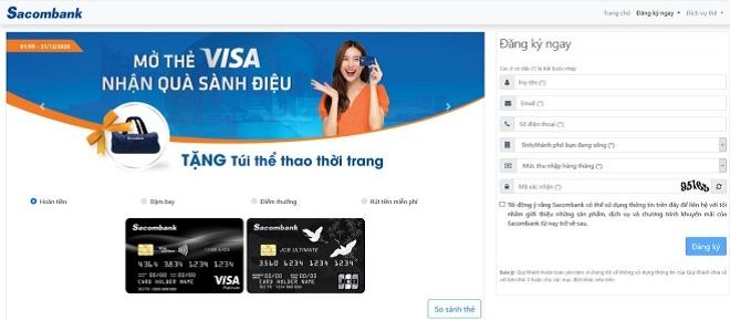 Sacombank hỗ trợ bạn đăng ký thẻ tín dụng trực tuyến