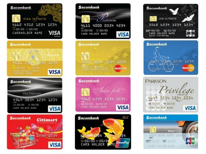 Các loại thẻ tín dụng của Sacombank