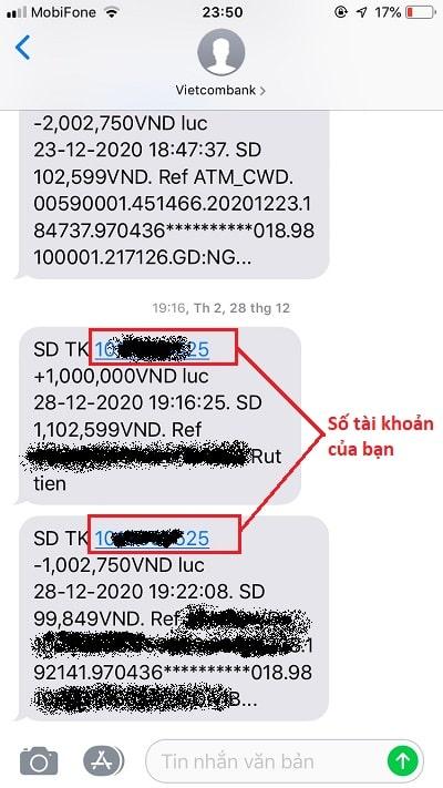 Tra cứu số tài khoản qua SMS Banking