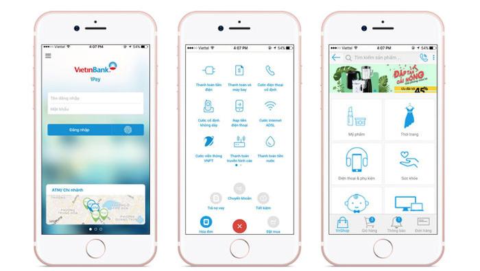 Giao diện ứng dụng Vietinbank Ipad rất đơn giản và thân thiện